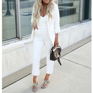 Express Ivory Sweetheart Jumpsuit